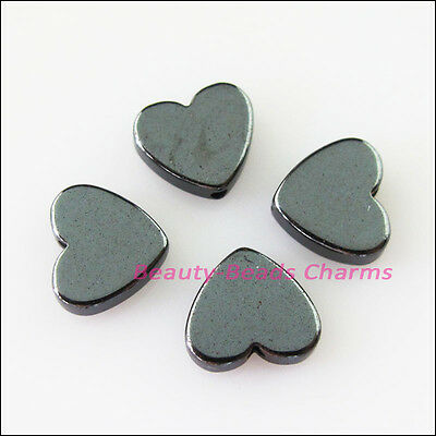 12 New Charms Black Hematite Gemstone Loose Heart Flat Spacer Beads 10mm