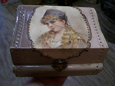 Antique Vintage Celluloid Victorian As Is Jewelry Box Dresser Box Old W Girl