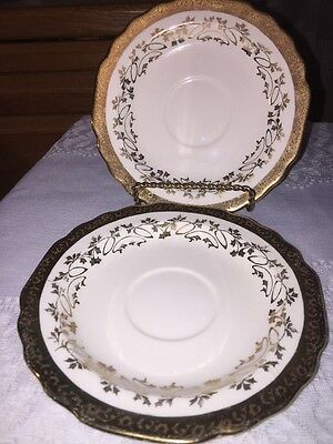 W S George China Courting Couple Two Saucers  22 Kt. Gold