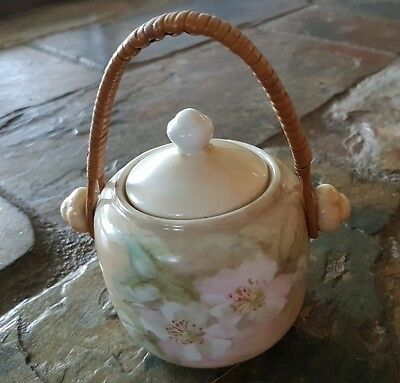 Vintage Handpainted Sugarbowl Sugar Bowl Signed Shabby Chic Cane Handle Old