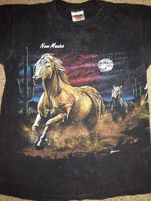 Vtg 80s 90s All Over Print Shirt Horse Race Desert Western Cowboy Animals Rodeo