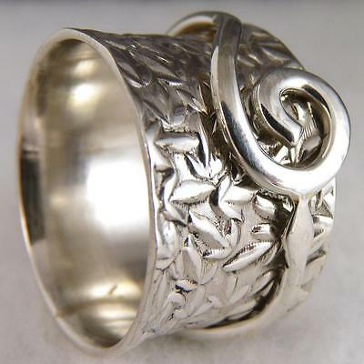 LEAF/SCROLL Embossed SPINNER Size US 6.25 SILVERSARI Ring 925 Solid Stg Silver