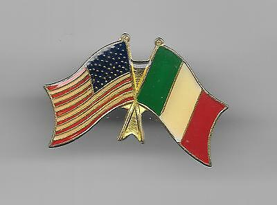 Vintage US Flag crossed with Flag of Italy old enamel pin