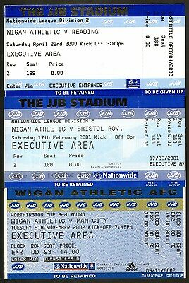 WIGAN ATHLETIC - UNUSED TICKETS - Includes MANCHESTER CITY - MINT & POSTFREE