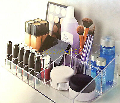 Large Clear Acrylic Brush Lipstick Cosmetic Holder Makeup Storage Organiser UK