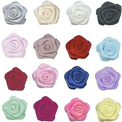 """100/200pc 15mm 5/8"""" 3D Roses Flowers 9mm Satin Ribbon  Eco Quality Party Wedding"""