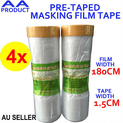 4x 180CM Extra Wide Tape and Drape Pre-taped Masking Film Tape 12M Long