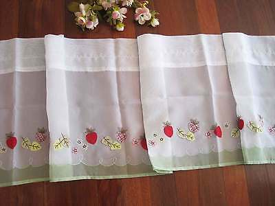 Pretty Strawberry Applique Embroidery Sheer Green Border Curtain Trim