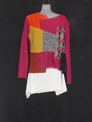 1990's Vintage Hippy Ribbed Jumper with Patchwork Front.