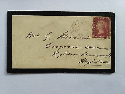 Great Britain Qv Penny Red Used On Mourning Cover To Hylton
