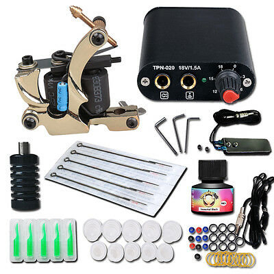 Complete Tattoo Kit needle Machine Guns Power Supply USA Color Ink MGT-18GD-16 e