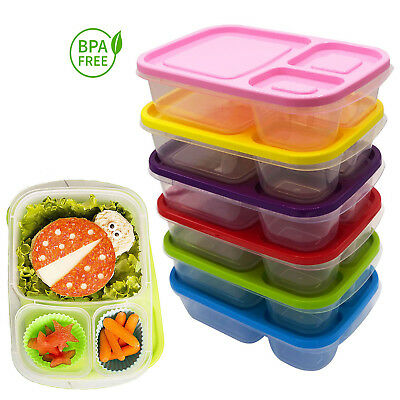 Plastic Lunch Box Food Container Set-3-4-5 Bento Lunch Boxes With 3-Compartment