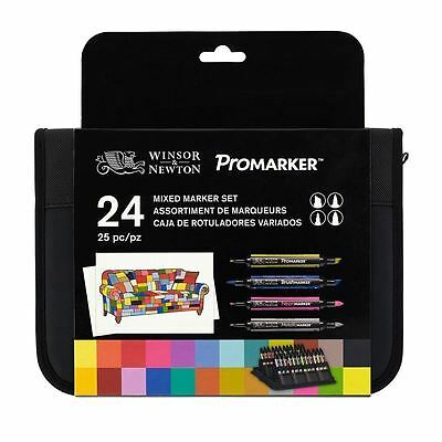Winsor And Newton Promarker Mixed Marker Set 24 In Wallet