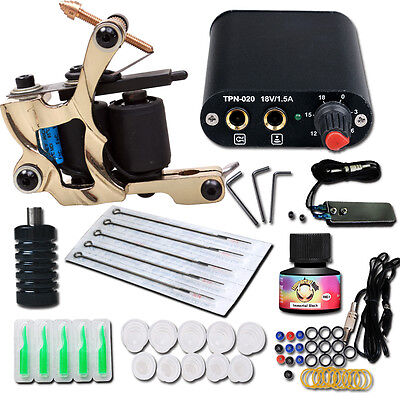 Complete Tattoo Kit needle Machine Guns Power Supply USA Color Ink MGT-18GD-18