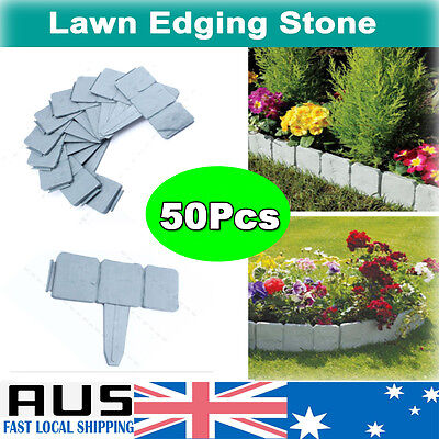 50X Fence Plastic Stone Edging Flowerbed For Garden Yard Landscape Plant 26*20CM