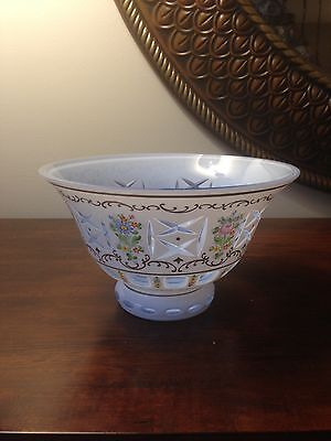 Vintage Bohemian Czech White Cased Over/ Cut To Aqua Glass Hand Painted Bowl
