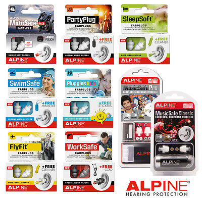 Alpine EARPLUGS Sleepsoft Partyplug Motosafe Musicsafe Swimsafe Pluggies Multi