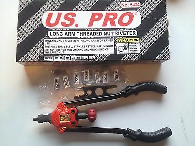 US PRO Tools Long Arm Threaded Nut Riveter M3-12 NEW B5434