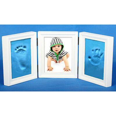 Cute 3-Folding Newborn Baby Photo Frame Handprint Footprint Cast Imprint Kit
