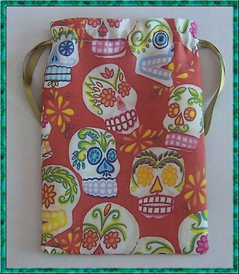 Red Skull Tarot Card Bag ideal for most fairy, angel & Wicca tarot cards