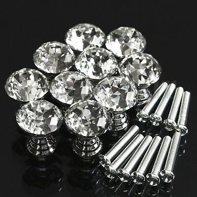 10pcs Door Knob Handles Cupboard Drawer Cabinet Kitchen Clear Crystal Glass UK