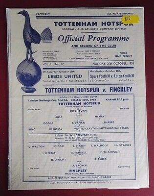 1958-59 Tottenham Hotspur Res. Vs. Finchley  - London  Cup. 2Nd Round Very Rare