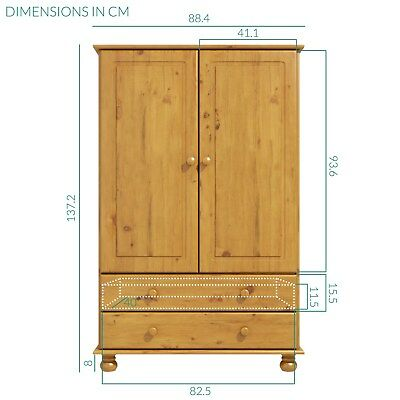 New Modern Solid Pine Hamilton 2 Door 2 Drawer Short Wardrobe Bedroom Furniture