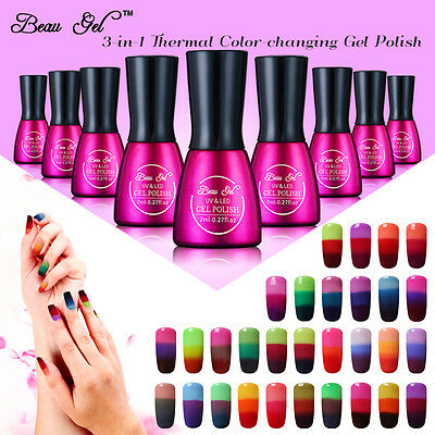 Beau Gel Termico Set di 6 Colori Top Base Coat Smalto Semipermanente UV Gel 7ml