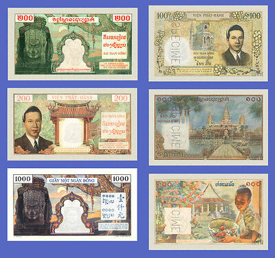 VIETNAM INDOCHINE - Lots of 6 notes - 100...1000 Piastres - Reproductions