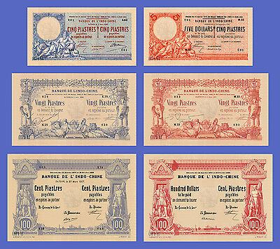 VIETNAM INDOCHINE - Lots of 6 notes - 5...100 Dollars - Reproductions