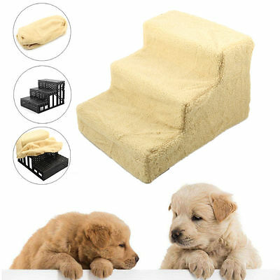 New 3 Steps Dog Cat Pet Stairs Soft Plush Mat Ladder Folding Ramp Car Portable