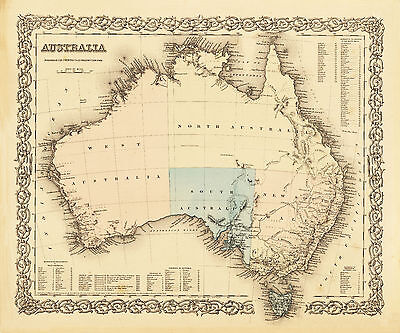 Australia Vintage Map Print poster paper for glass frame 900mm