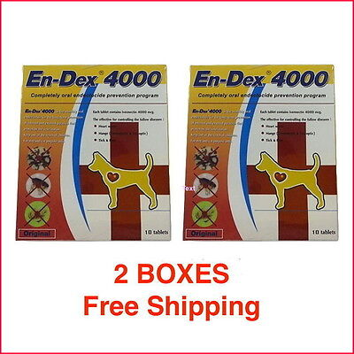 2 Boxes EN-DEX 4000 REMOVE TICKS AND FLEAS FOR SMALL DOGS & CATS