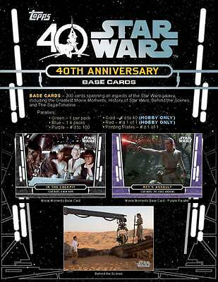 STAR WARS 40th ANNIVERSARY Trading Card Set of 200 topps 2017