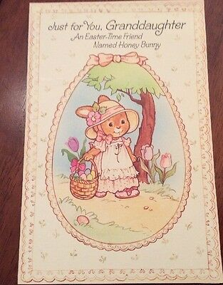 "HONEY BUNNY PAPER DOLL GREETING CARD GRANDDAUGHTER, Vintage, large 6""x9"" Easter."