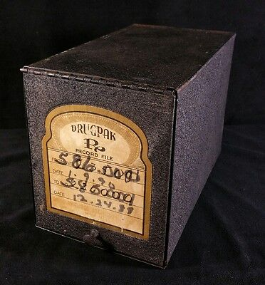 Antique Metal Hercules Drugpak Rx Record File Box w Hinged Flap 5.25 x9.25 x6.25