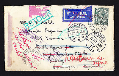 KGV GB 1934 cover addressee Engineer on Steamship in Denmark Undelivered cachet