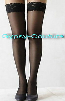 Black Thigh High Lace Top Sheer Stay Up Stockings Costume Free Postage