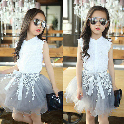 Fashion Kids Baby Girl Toddler T-shirt Lace Tops+Skirt Dress Clothes Outfits Set