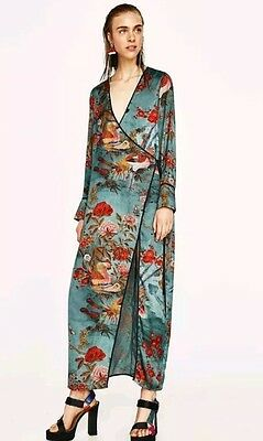 ZARA New Oriental Floral Kimono Dress Size L Uk 12 Genuine Zara