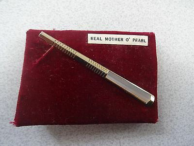 Vintage Mens Tie Clip Bar MOTHER of PEARL