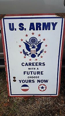 Large Double Sided Porcelain U.S. Army Air Force Recruiting 3 Color Sign