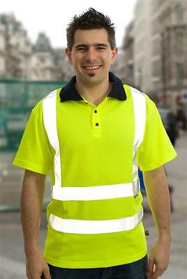 Hi Visibility Yellow Polo Shirt EN471 Class 2 Hi Viz Reflective Fluorescent