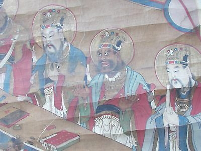 Antique Chinese scroll painting  on linen unframed 1800 c