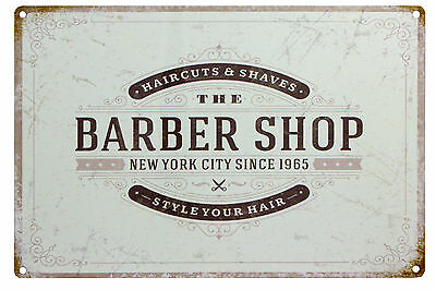 Vintage Style Metal Sign Barber Shop New York 1965 Retro Tin Wall Decor Plaques