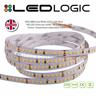 Top Quality Dual White CCT LED Strip Light -2835 (168 Chips per metre) - 5M Roll