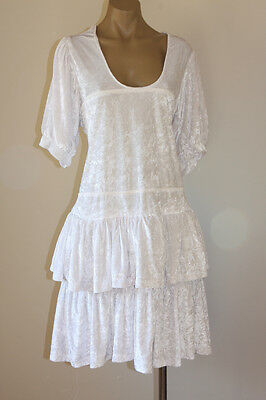 VINTAGE 80's WHITE VELVET RUFFLED FESTIVAL PARTY DRESS 18-20