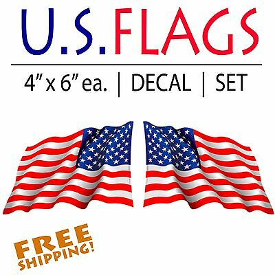 "Patriotic Waving Flag stickers-Pair cut-out decal 6"" military Made in USA VINYL"