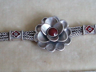 Antique Vintage Sterling Silver & Coral Enamelled Flower Bracelet