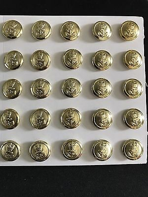 25 X Royal Navy Chief Petty Officer Buttons, Gold, 15mm, Brand New